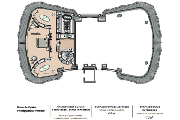 ONE MONTE CARLO 5 PIECES DUPLEX 527 m²