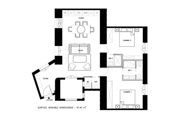 MONACO CENTRE BELLEVUE PALACE MEUBLÉ MIXTE CAVE