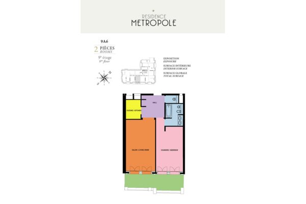 RESIDENCE METROPOLE 2 PIECES 101,50 m² AVEC CAVE PARKING